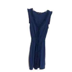 Zara Women Sleeveless Dress Ruffle Detail Blue S